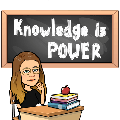 Cartoon Ms. Hewey with text that says knowledge is power