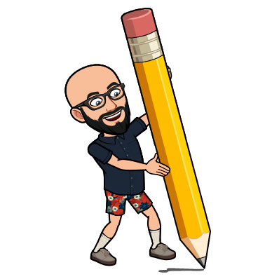 Bitmoji Image of Adam outlining with a giant pencil.