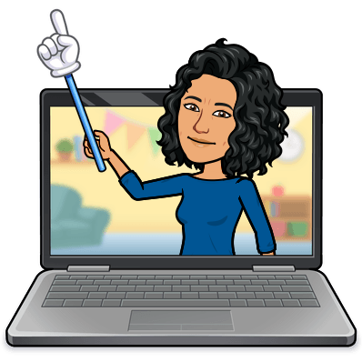 A person on a laptop screen holding up a pointing finger on a stick