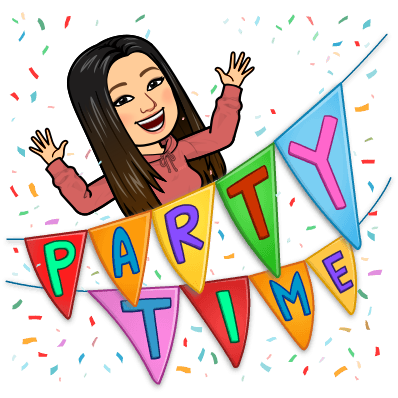 Bitmoji Image ms.kang and party time banner