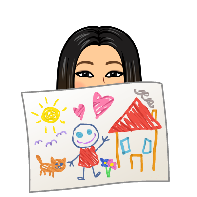 Bitmoji Ms.Kang holding drawing Image