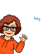 Bitmoji image of Carrie Taylor saying hey