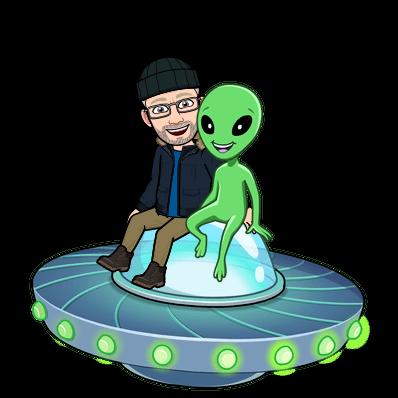 Grafik: UFO mit einem Alien und mir