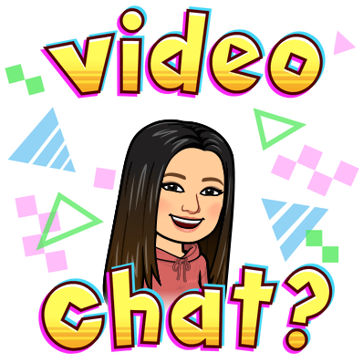 Bitmoji image Ms. Kang video chat question