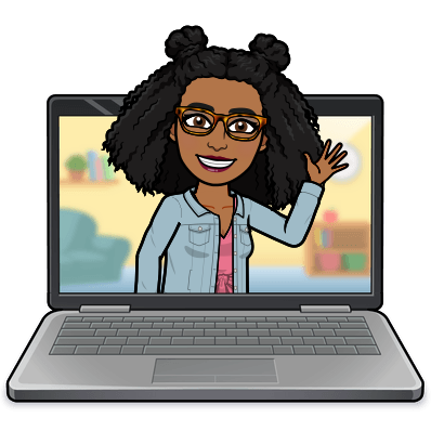 Bitmoji of Ms. Hines popping out of a laptop and waving