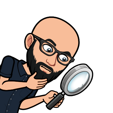 Bitmoji Image of Adam searching for evidence with a magnifying glass.